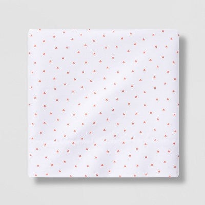 Micro Heart Flat Sheet Separates Coral - Pillowfort™
