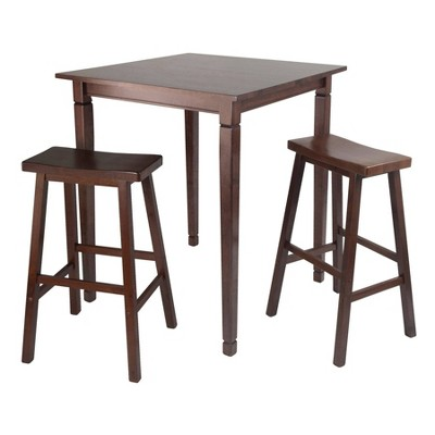 3pc Kingsgate Counter Height Dining Set with Saddle Seat Walnut - Winsome