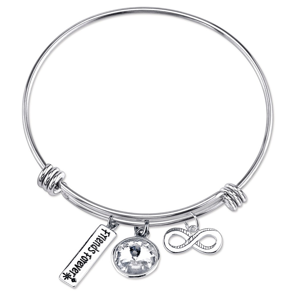 Women's 'Friends Forever' Expandable Bangle - Silver, Silver/Clear