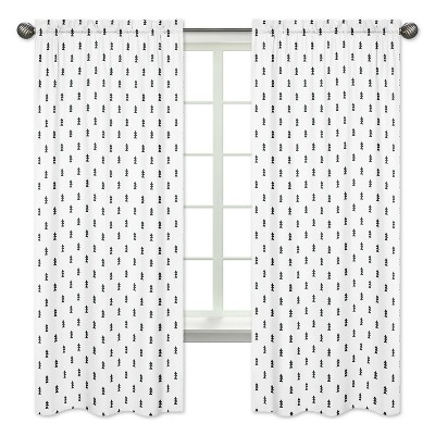 Sweet Jojo Designs Window Panels - Triangle Tree/Bear Mountain - Black - 2pk