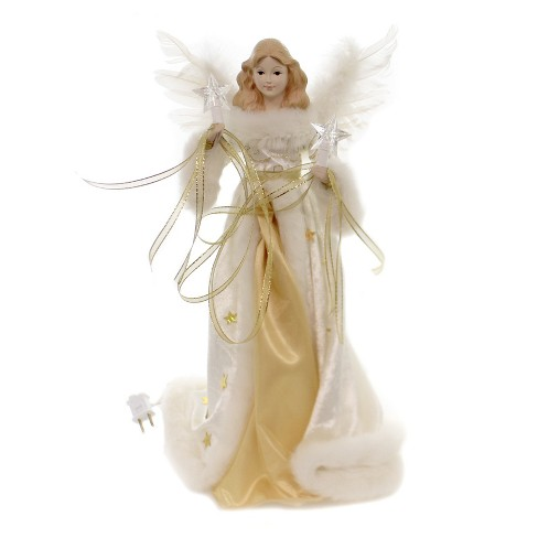 """Tree Topper Finial 16.75"""" Gold/Cream Angel Tree Topper Lighted Electric Plug In  -  Tree Toppers - image 1 of 2"""