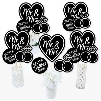 Big Dot of Happiness Mr. and Mrs. - Black and White Wedding or Bridal Shower Centerpiece Sticks - Table Toppers - Set of 15