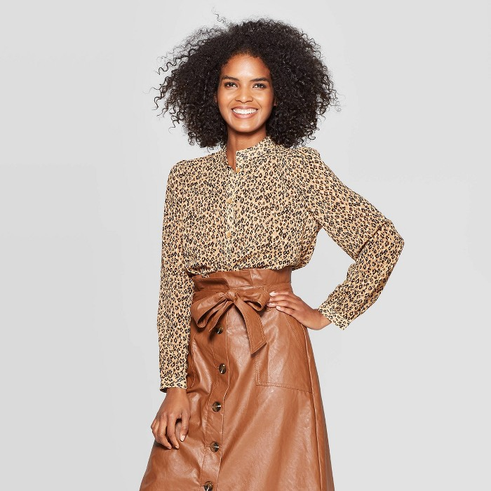 Women's Leopard Print Long Sleeve Banded Collared Blouse - Who What Wear™ Brown - image 1 of 3