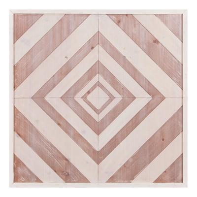 30 x30  Geometric Quilt Wood Wall Art Brown - Patton Wall Decor