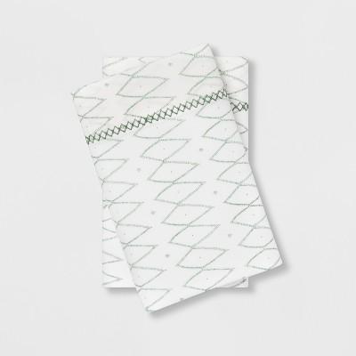 Standard Cotton Percale Printed Pillowcase Set White/Green - Opalhouse™