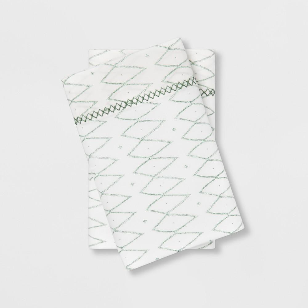 Image of Standard Cotton Percale Printed Pillowcase Set White/Green - Opalhouse