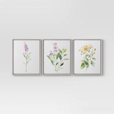 "(Set of 3)16"" x 20"" Wildflower Framed Wall Canvas - Threshold™"