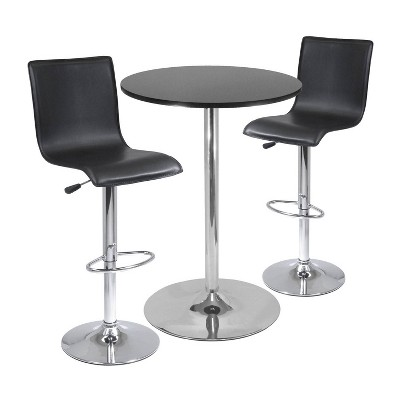 "3pc 28"" Spectrum Bar Height Dining Set Black - Winsome"