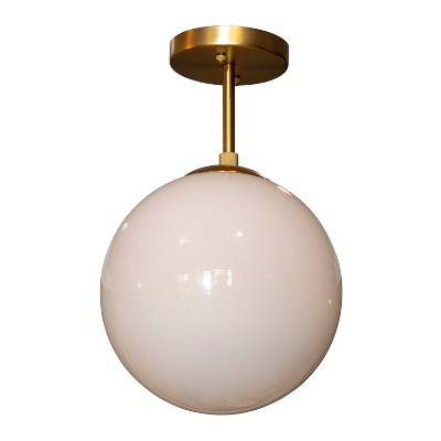 "12"" Michael Milk Glass Semi - Flush Mount Ceiling Light Gold - Decor Therapy"