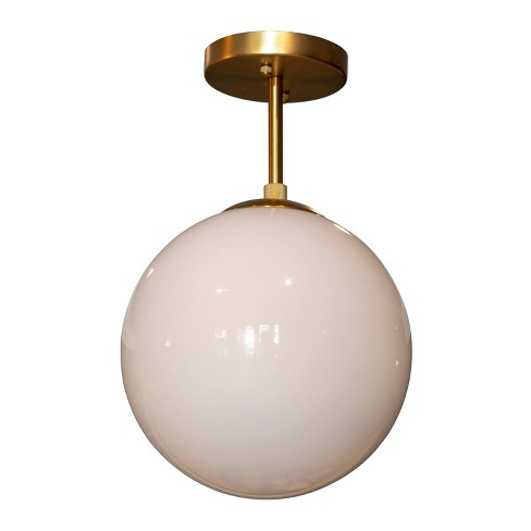 Michael Milk Glass Semi - Flush Mount Ceiling Light Gold - Decor Therapy - image 1 of 4