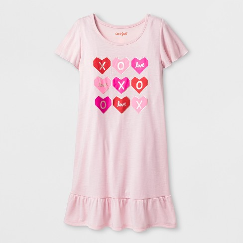Girls' Valentine's Day Hearts Nightgown - Cat & Jack™ Pink - image 1 of 1