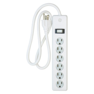 GE 6 - Outlet Surge Protector, 2ft. Cord White, 14009