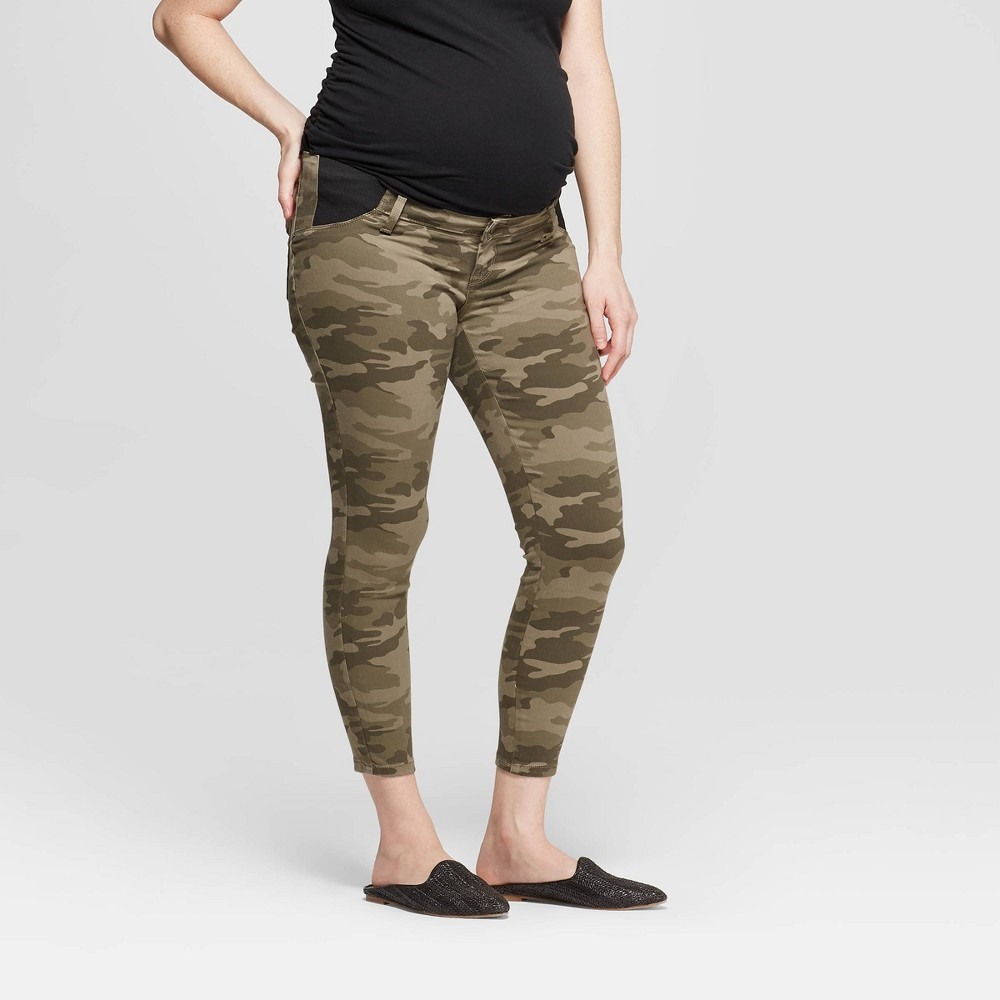 e4c9841ba13be Maternity Camo Print Side Panel Skinny Crop Jeans Isabel Maternity by Ingrid  Isabel Olive 0 Womens Green
