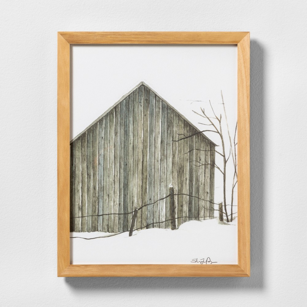 "Image of ""11"""" X 14"""" Sketched Barn Wall Art with Natural Wood Frame - Hearth & Hand with Magnolia"""