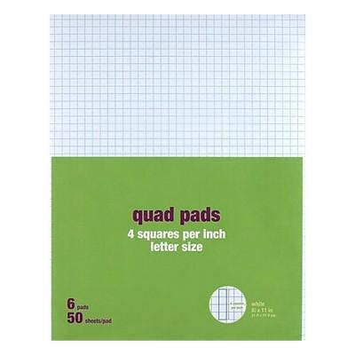 "MyOfficeInnovations Graph Pads 8.5"" x 11"" Graph White 50 Sh./Pad 6 Pads/PK 412593"