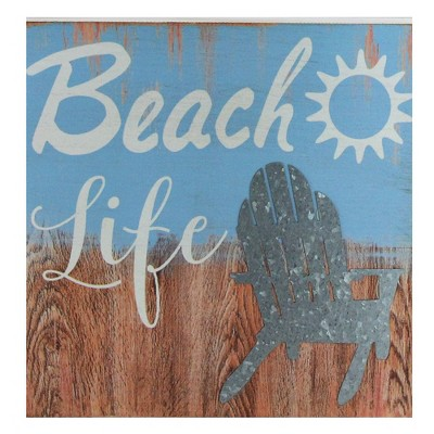 """Northlight 8"""" Decorative """"Beach Life"""" Distressed Wooden Wall Plaque"""