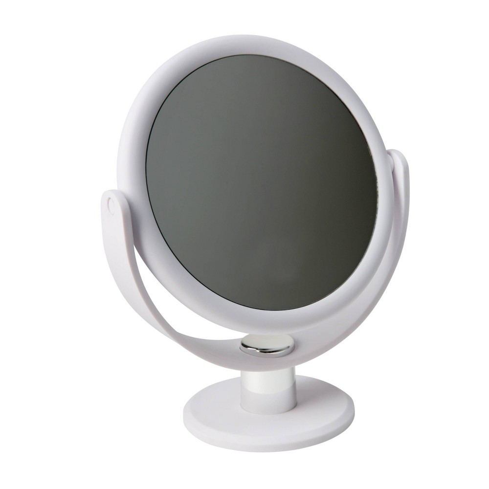 """Image of """"7"""""""" Vanity Rubberized Mirror 1X-10X Magnification White - Home Details"""""""