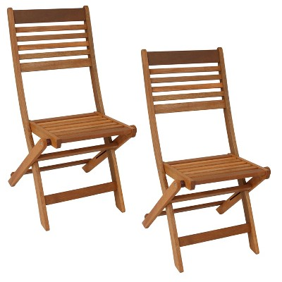 2pc Meranti Wood Outdoor Folding Patio Chairs - Sunnydaze Decor
