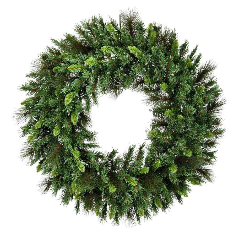 """Image of """"Vickerman 60"""""""" Bangor Mix Pine Wreath with 600 Clear Dura-lit lights"""""""