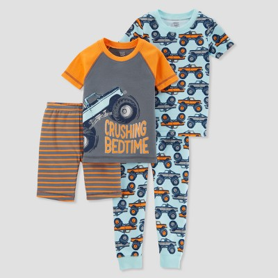 Baby Boys' 4pc Crushing Bedtime Pajama Set - Just One You® made by carter's Orange 12M