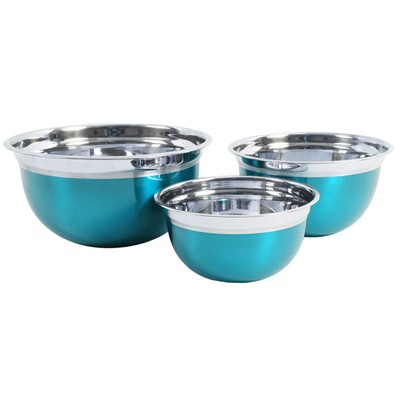 Oster 3 Piece Rosamond Stainless Steel Round Mixing Bowls in Turquoise