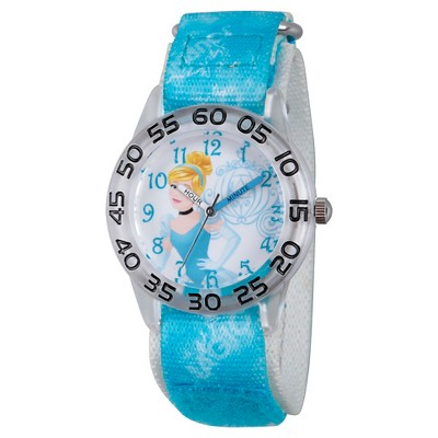 Girls' Disney Princess Cinderella Clear Plastic Time Teacher Watch - Blue