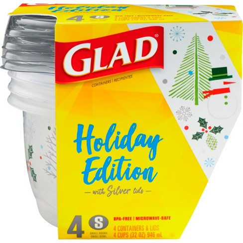Glad Food Storage Containers - Small Bowl Containers - Holiday Edition - 32oz/4ct - image 1 of 4