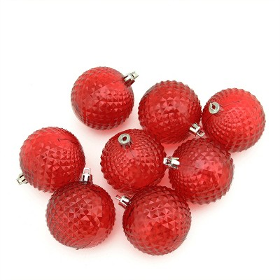 "Northlight 8ct Transparent Diamond Cut Shatterproof Christmas Ball Ornament Set 2.5"" - Red"