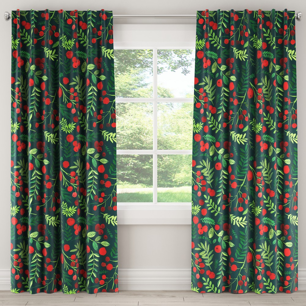 Blackout Curtain Holly Evergreen 63L - Skyline Furniture, Green