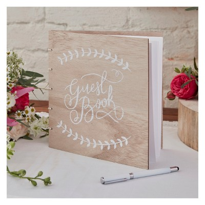 Ginger Ray Wooden Guest Book Boho