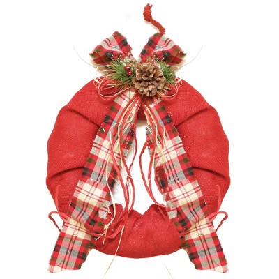 """Northlight 13"""" Unlit Red Burlap with Plaid Bow and Pine Christmas Wreath"""