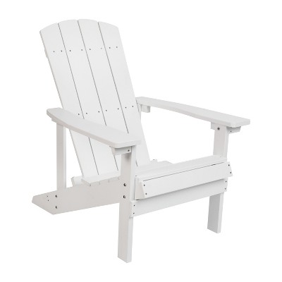 Merrick Lane All-Weather Poly Resin Wood Adirondack Chair in White