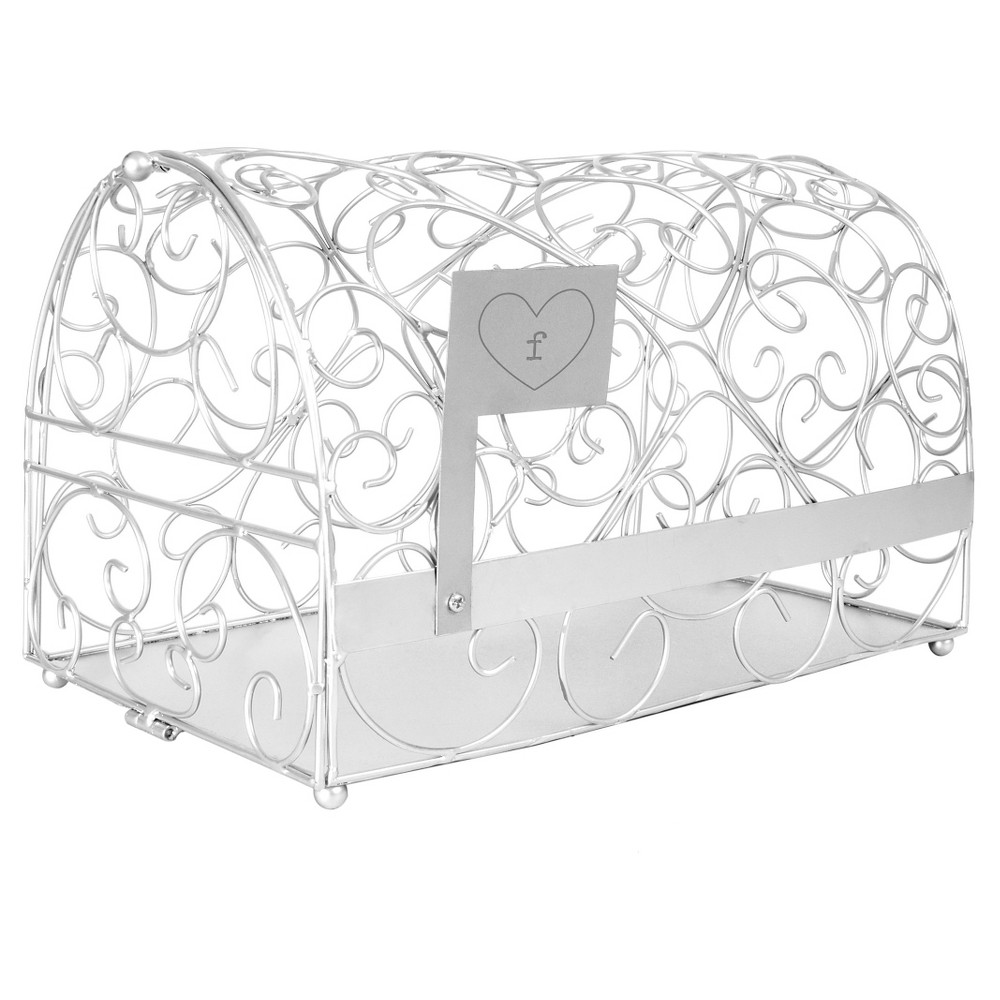 Monogram Heart Silver Gift Card Mailbox Holder, Silver-F