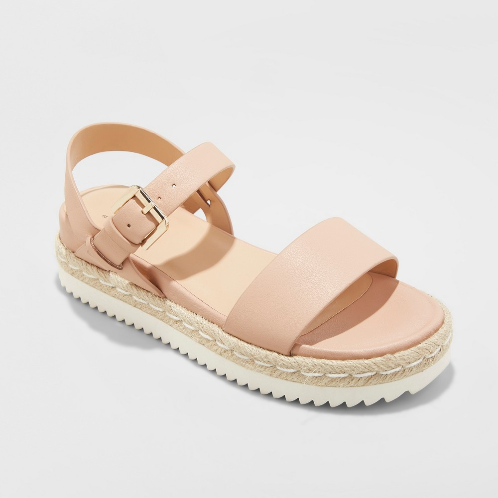 Women's Rianne Espadrille Ankle Strap Sandals - A New Day Blush 6