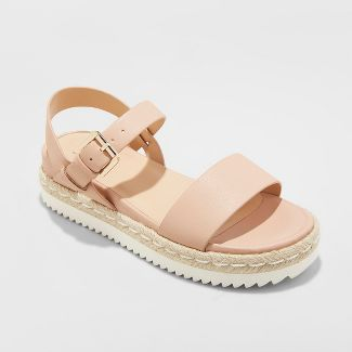 Womens Rianne Espadrille Ankle Strap Sandals - A New Day™ Blush 8