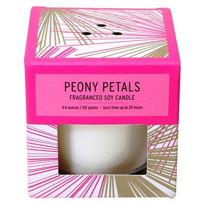 Boxed Glass Candle Peony Petals 4.4oz - Soho Brights