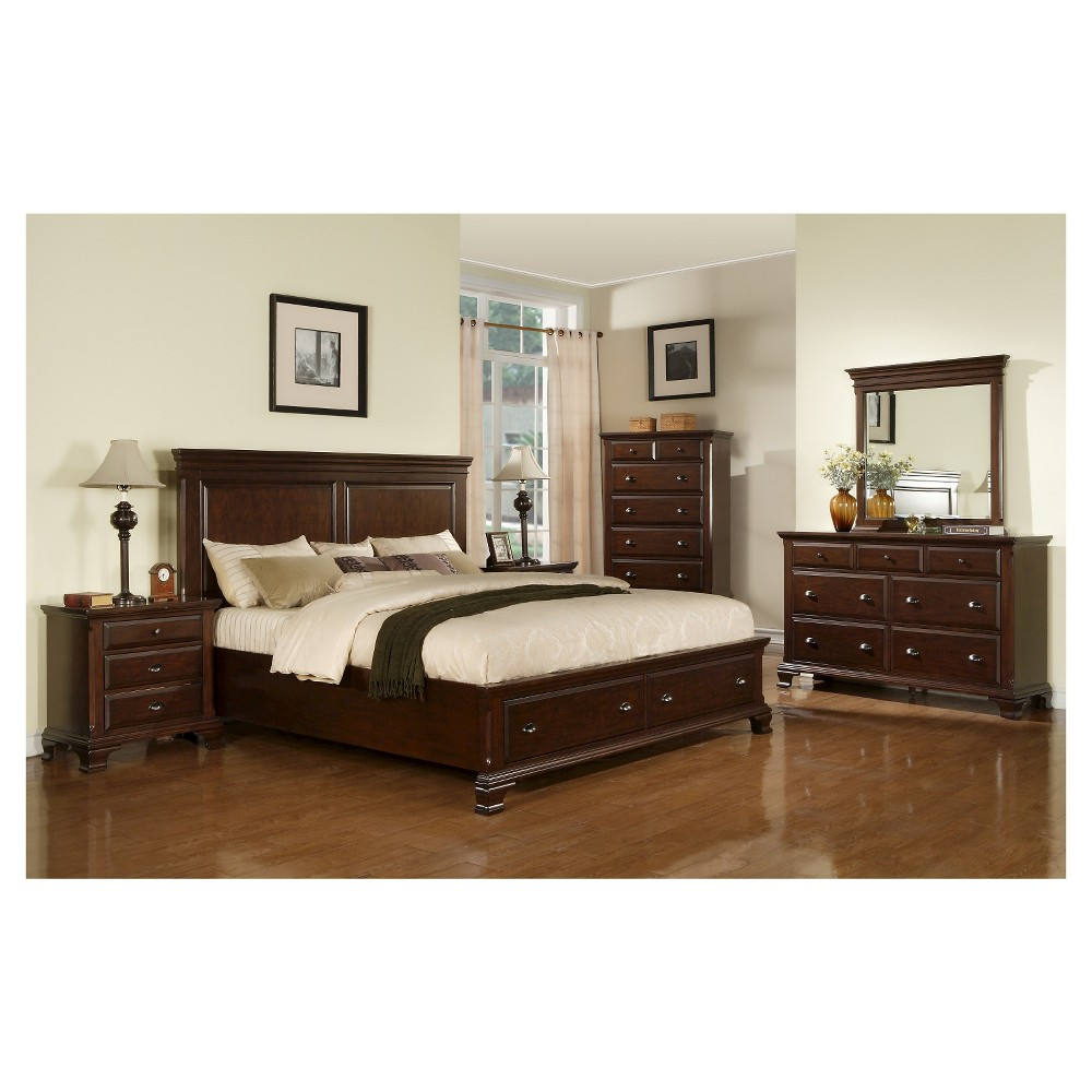 Carlton Cherry Queen Storage 5pc in Set - Picket House Furnishings, Brown