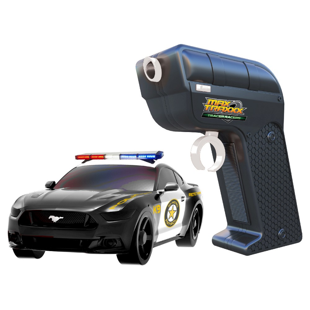 Max Traxxx Tracer Racers RC Car and Controller Mustang Police Car