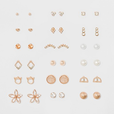 Eighteen Piece Multi with Wire Flower, Cat, Stone and Simulated Pearl Earring Set - Rose Gold