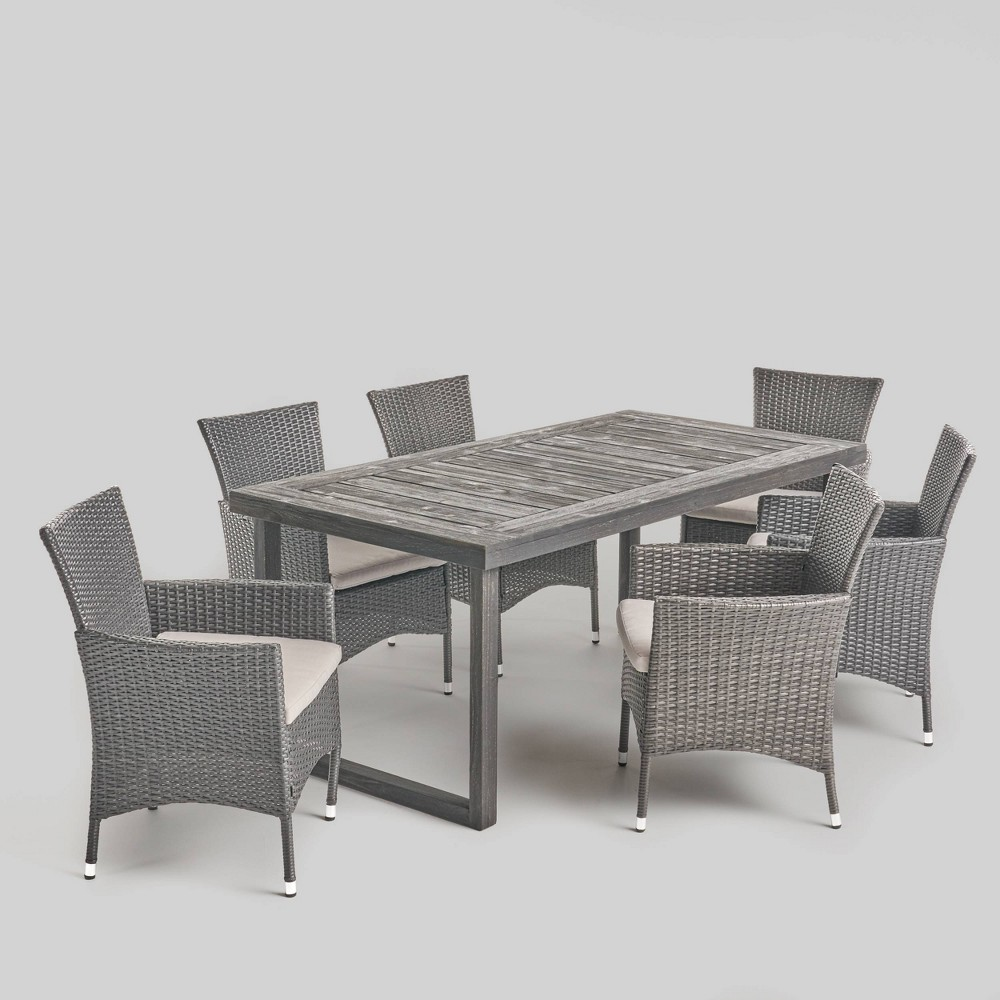 Moralis 7pc Acacia Wood and Wicker Dining Set Gray/Silver - Christopher Knight Home