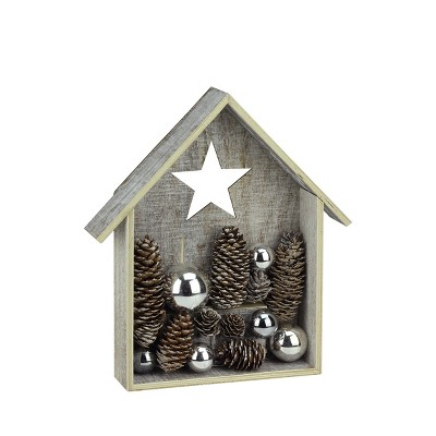 """Ganz 11"""" Battery Operated Brown and White LED Rustic House Christmas Tabletop Decor"""