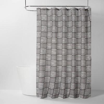 Colorblock Stripe Shower Curtain Black/White - Room Essentials™
