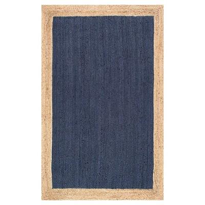 Blue Solid Loomed Round Area Rug - (6')- nuLOOM