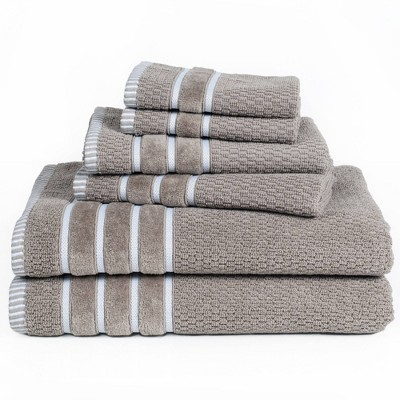 6pc Combed Cotton Bath Towel Set Taupe - Yorkshire Home