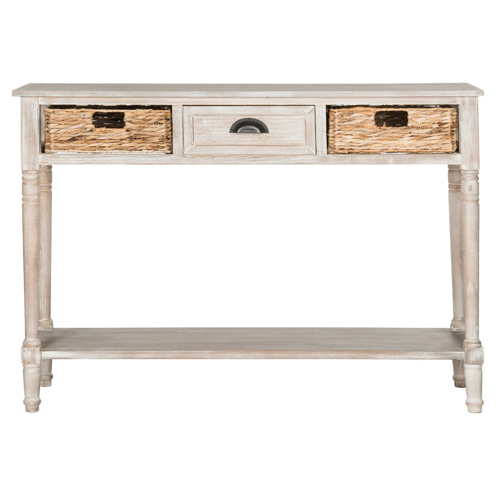 Christa Console Table with storage - Vintage White - Safavieh