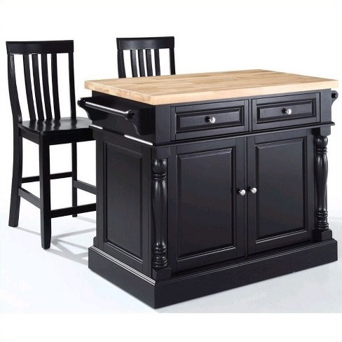 Oxford Butcher Block Top Kitchen Island with Stools in Black - Crosley