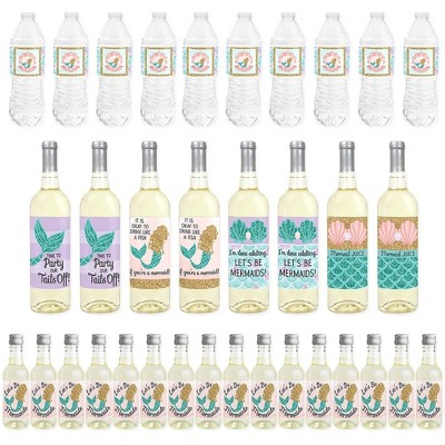 Big Dot of Happiness Let's Be Mermaids - Baby Shower or Birthday Party Decorations - Beverage Bar Kit - 34 Pieces