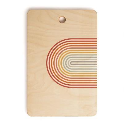 "17"" x 12"" Wood Showmemars Minimalist Rainbow Rectangular Cutting Board - society6"