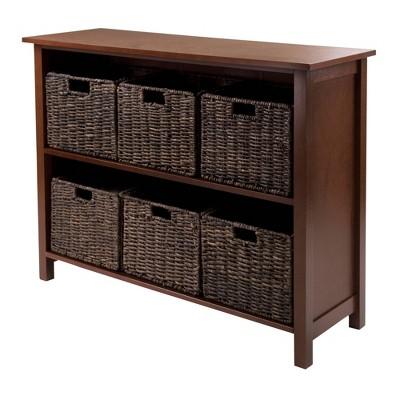 7pc Granville Set Storage Shelf with Baskets Walnut - Winsome