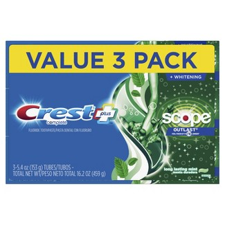 Crest + Scope Outlast Complete Whitening Toothpaste Mint - 5.4oz - Pack of 3